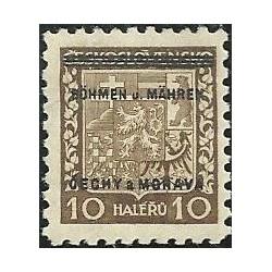 2.- Přetisk, střední státní znak, přetisk,**,