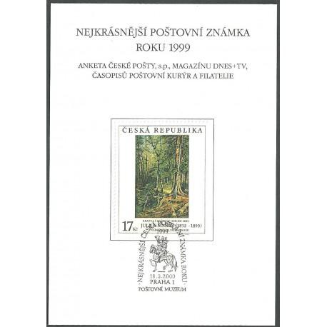 AČP 6. suvenýr ANKETY ČESKÉ POŠTY , nejkrásnější poštovní známka roku 1999,o,