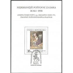 AČP 5. suvenýr ANKETY ČESKÉ POŠTY , nejkrásnější poštovní známka roku 1998,o,