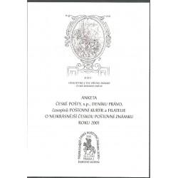 AČP 8. suvenýr ANKETY ČESKÉ POŠTY, nejkrásnější poštovní známka roku 2001,o,