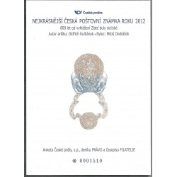AČP 19. suvenýr ANKETY ČESKÉ POŠTY , nejkrásnější poštovní známka roku 2012,o,